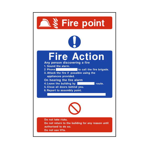 Fire Action Fire Point Sticker - Safety-Label.co.uk