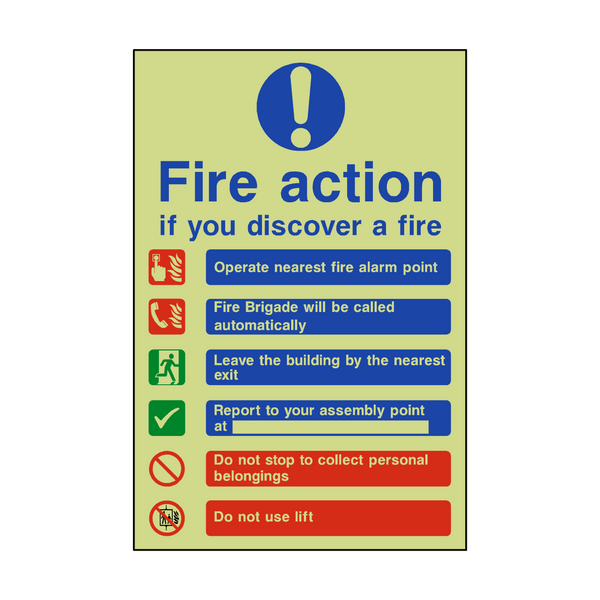 Fire Action Lift & Automatic Alarm Photoluminescent Sticker - Safety-Label.co.uk