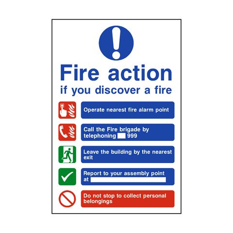 Fire Action Non-Lift Telephone Sticker - Safety-Label.co.uk