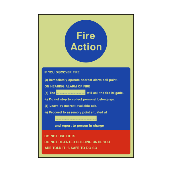 Fire Action Notice Version 1 Photoluminescent Sticker - Safety-Label.co.uk