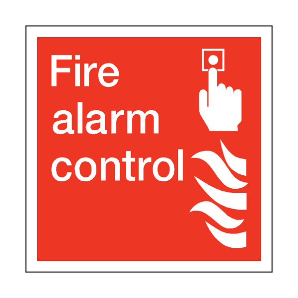 Fire Alarm Control Square Sticker - Safety-Label.co.uk