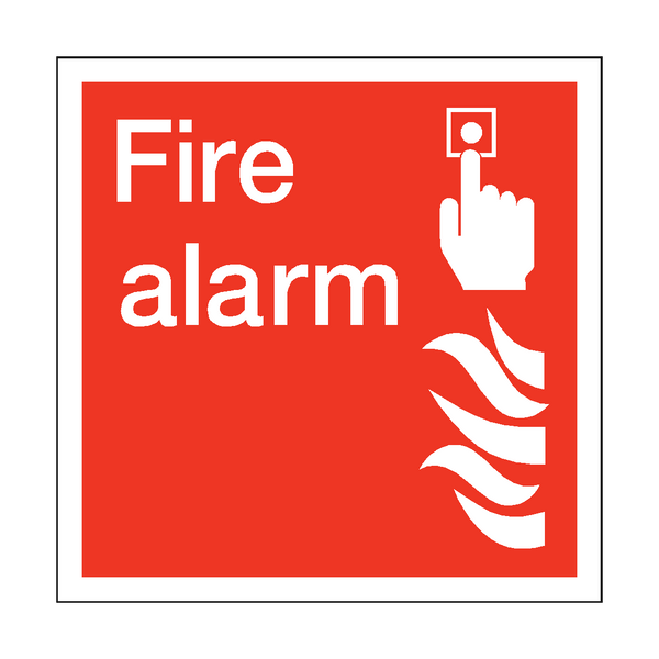 Fire Alarm Square Sticker - Safety-Label.co.uk