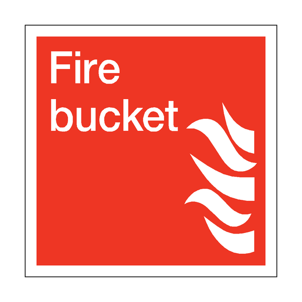 Fire Bucket Square Sticker - Safety-Label.co.uk