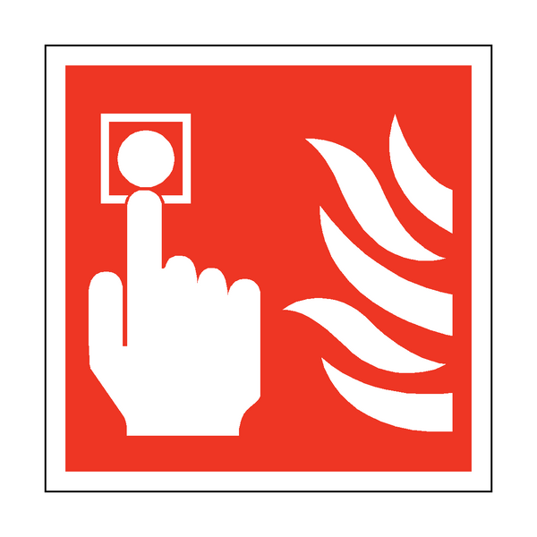 Fire Button Square Safety Sticker | Safety-Label.co.uk