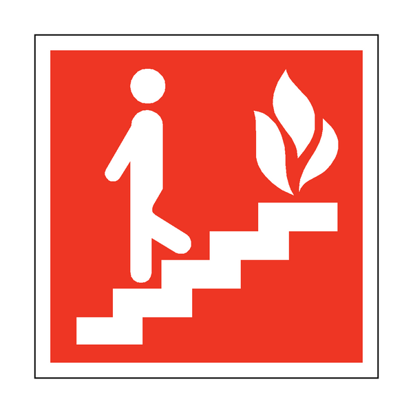 Fire Exit Steps Safety Sticker | Safety-Label.co.uk