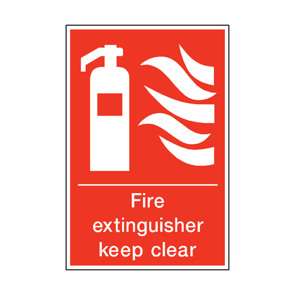 Fire Extinguisher Keep Clear Sticker | Safety-Label.co.uk