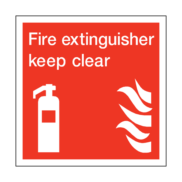 Fire Extinguisher Keep Clear Square Sticker - Safety-Label.co.uk