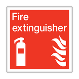 Fire Extinguisher Square Safety Sticker - Safety-Label.co.uk