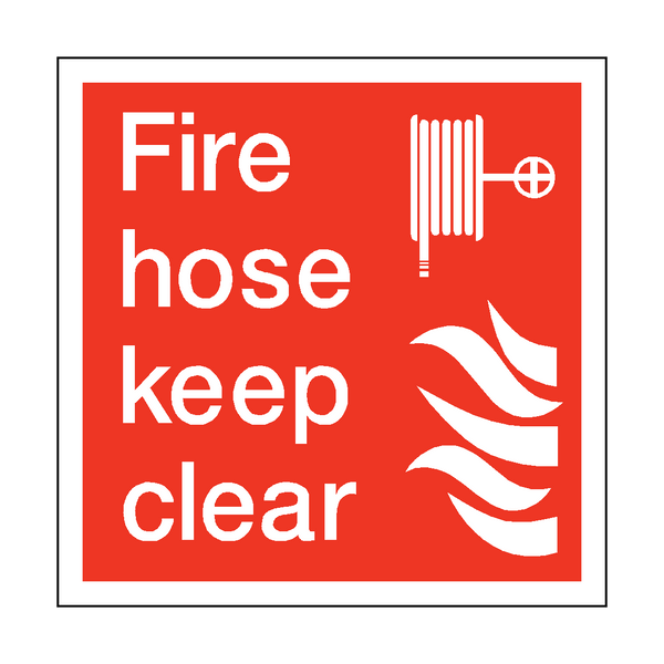 Fire Hose Keep Clear Square Sticker - Safety-Label.co.uk