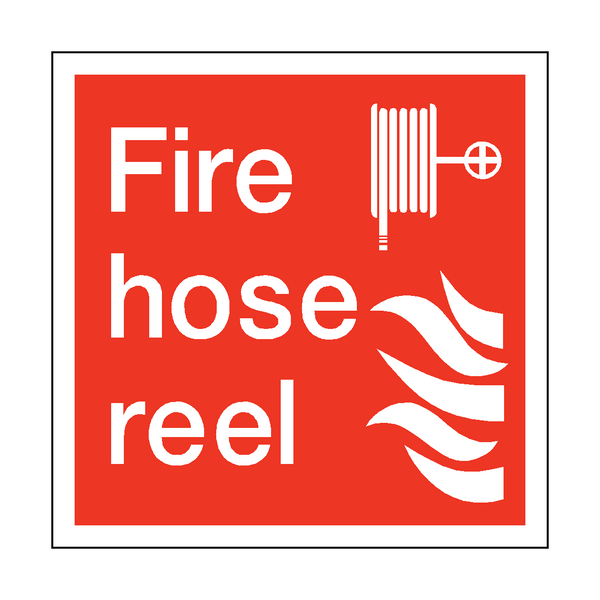 Fire Hose Reel Square Sticker | Safety-Label.co.uk