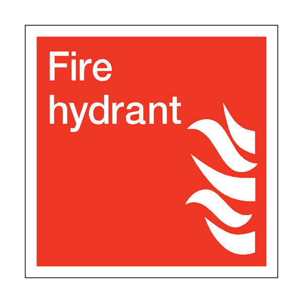 Fire Hydrant Square Sticker | Safety-Label.co.uk