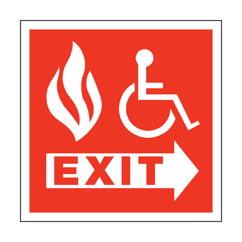 Fire Safety Exit Disabled Sticker - Safety-Label.co.uk