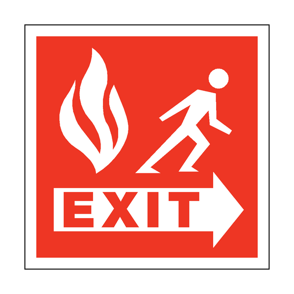 Fire Safety Exit Square Sticker | Safety-Label.co.uk