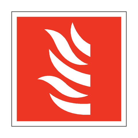 Fire Symbol Square Sticker - Safety-Label.co.uk