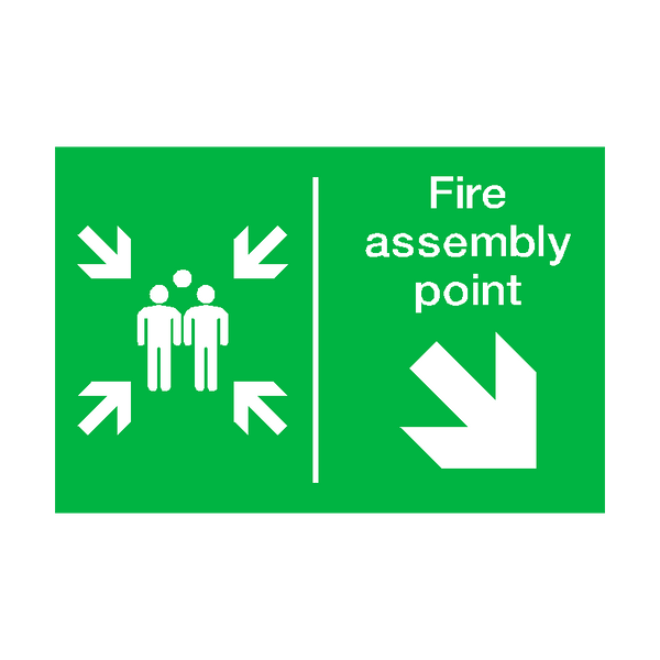 Fire Assembly Point Arrow Right Down Sticker - Safety-Label.co.uk