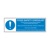 Food Safety Checklist Hygiene Sign | Safety-Label.co.uk