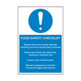 Food Safety Checklist Sign | Safety-Label.co.uk