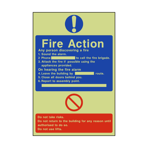 General Fire Action Photoluminescent Sticker - Safety-Label.co.uk