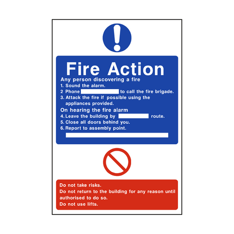 General Fire Action Sticker - Safety-Label.co.uk