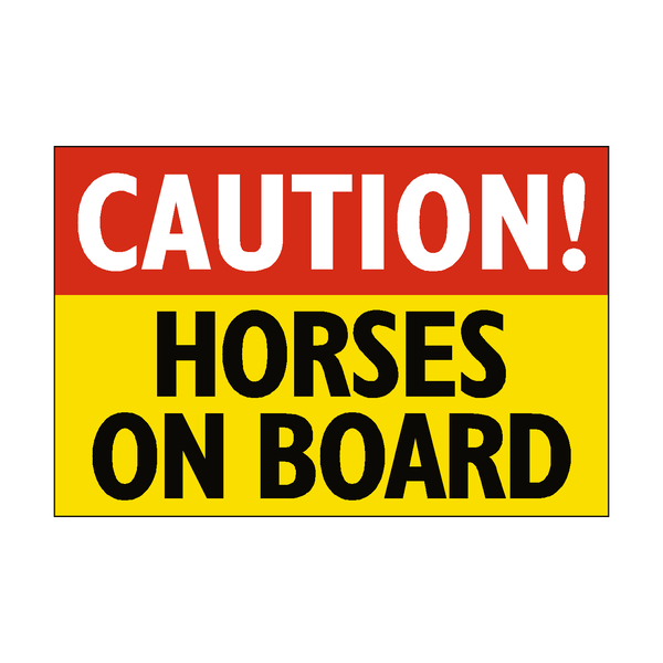 Caution Horses On Board Sticker - Safety-Label.co.uk