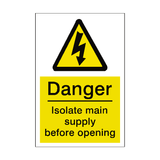 Isolate Main Supply Sticker | Safety-Label.co.uk