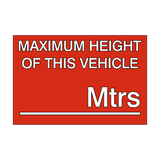 Maximum Height Vehicle Sticker Meters | Safety-Label.co.uk