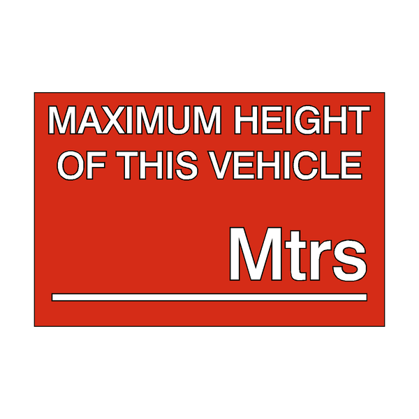 Maximum Height Vehicle Sticker Meters - Safety-Label.co.uk