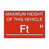 Maximum Height Vehicle Sticker Foot / Inch | Safety-Label.co.uk