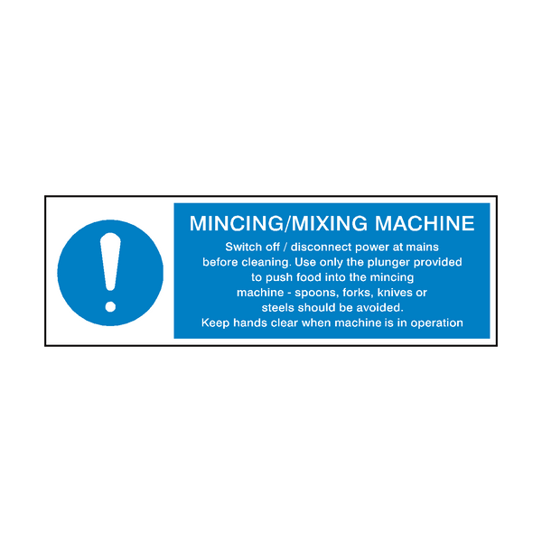 Mincing Mixing Machine Hygiene Sign | Safety-Label.co.uk