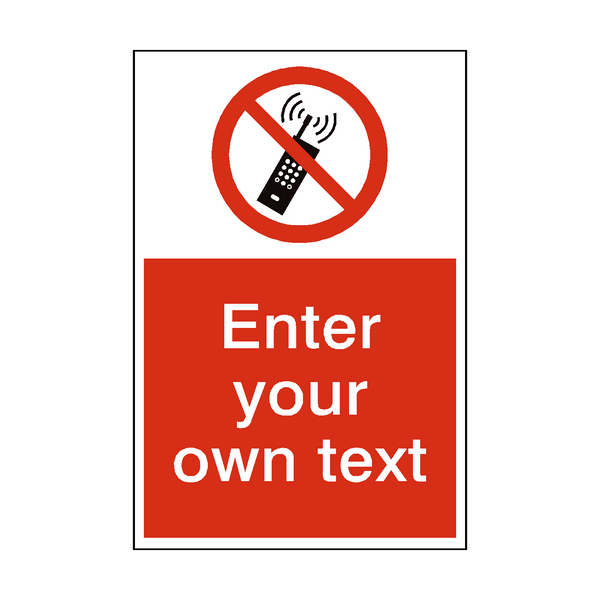 No Mobile Phones Custom Prohibition Sticker | Safety-Label.co.uk