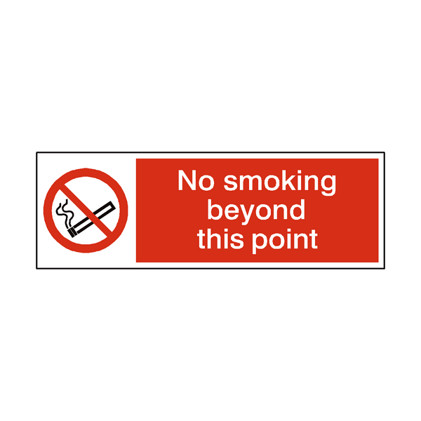 No Smoking Beyond This Point Landscape sticker - Safety-Label.co.uk