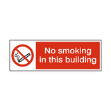 No Smoking In This Building sticker - Safety-Label.co.uk
