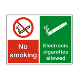 No Smoking Electronic Cigarettes Permitted Sign | Safety-Label.co.uk