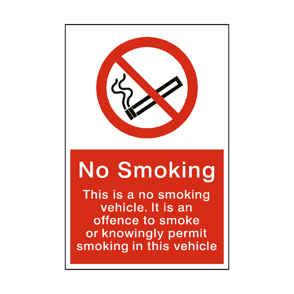 No Smoking In Vehicle sticker - Safety-Label.co.uk