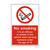 No Smoking In Vehicle With Under 16 Sign | Safety-Label.co.uk