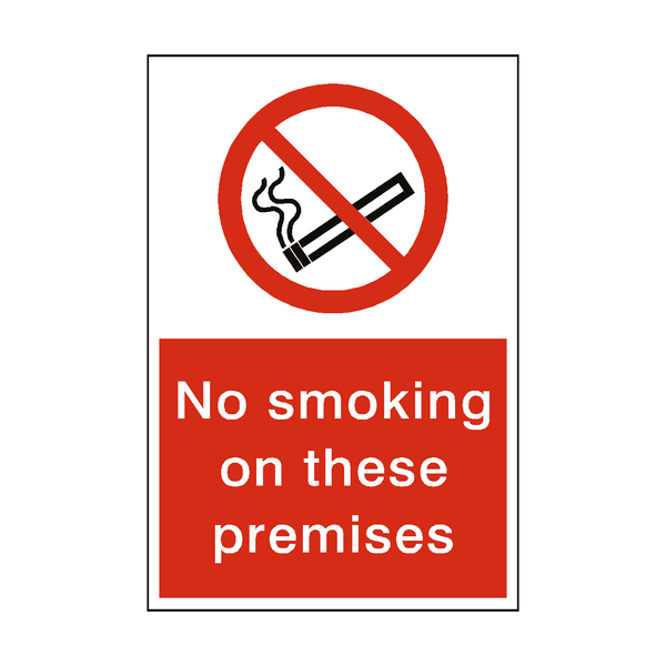 No Smoking On These Premises Sticker | Safety-Label.co.uk