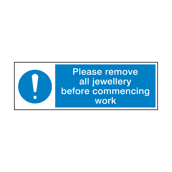 Please Remove Jewellery Before Work Sign - Safety-Label.co.uk