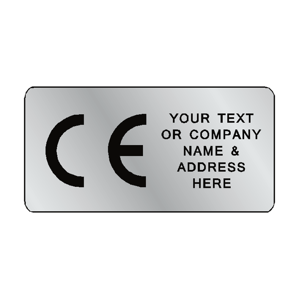 Silver CE Label Custom Text | Safety-Label.co.uk