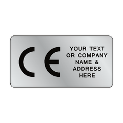 Silver CE Label Custom Text - Safety-Label.co.uk