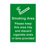 Smoking Area Keep Tidy sticker - Safety-Label.co.uk
