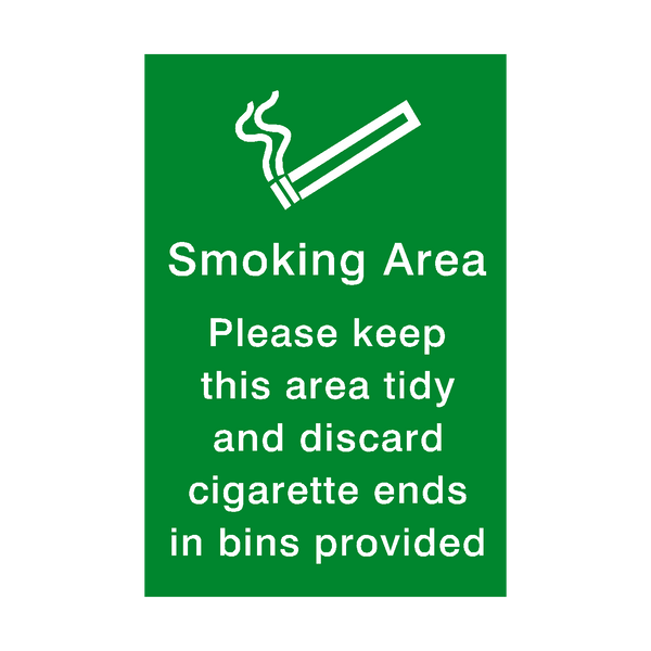 Smoking Area Keep Tidy Sticker | Safety-Label.co.uk