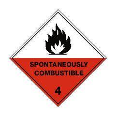 Spontaneously Combustible 4 Label - Safety-Label.co.uk