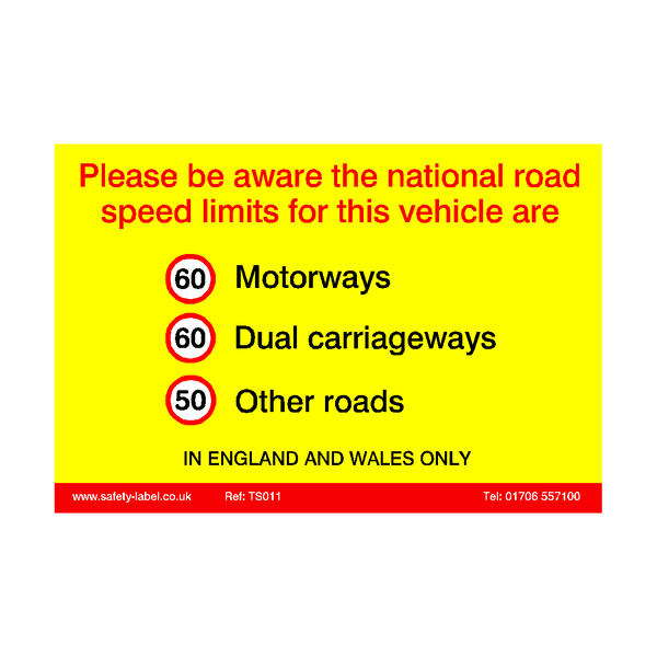 Truck Speed Limit Sticker - Safety-Label.co.uk