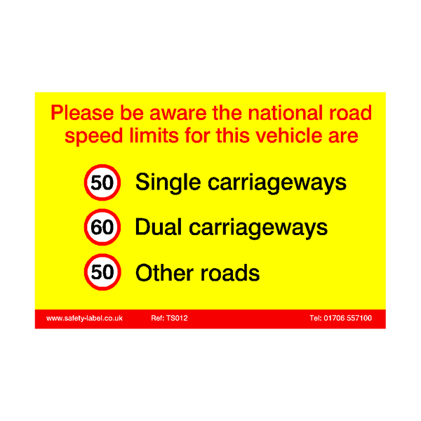 HGV Speed Limit Sticker - Safety-Label.co.uk