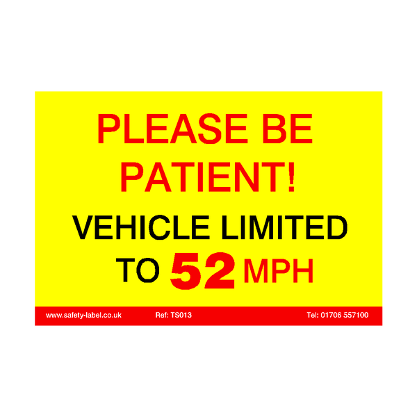Vehicle Limited To 52 MPH Sticker | Safety-Label.co.uk