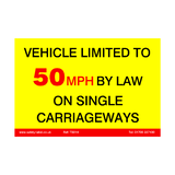 Vehicle Limited To 50 MPH Sticker | Safety-Label.co.uk