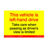 Left Hand Drive Vehicle Sticker | Safety-Label.co.uk