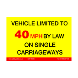 Vehicle Limited To 40 MPH Sticker | Safety-Label.co.uk