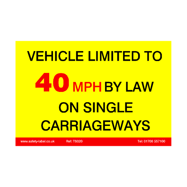 Vehicle Limited To 40 MPH Sticker - Safety-Label.co.uk