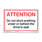 Do Not Store Anything Under Drivers Seat Sticker | Safety-Label.co.uk